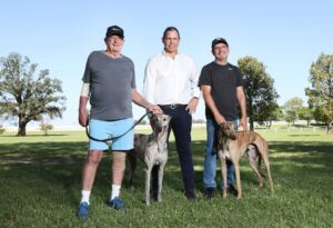 Pictured at Hawkesbury Race Club in Clarendon in Sydney is Frank Hurst MDC winner 2019 and his Greyhound Good Odds Harada, Tony Mestrov CEO Greyhound Racing NSW and Peter Lagogiane MDC winner 2018/2020 with his 2020 Greyhound Handsome Prince.Picture: Richard Dobson