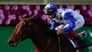 The Bostonian winning the Kingsford-Smith Cup. Photo: AAP Image/Albert Perez