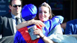 Annabel Neasham celebrates Zaaki's Q22 win with jockey James McDonald. Photo: Grant Peters/ Trackside Photography.