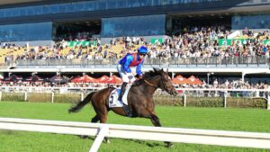 Zaaki, ridden by James McDonald, races away to win the Doomben Cup. He is currently a hot favourite to win the Cox Plate. Picture: Grant Peters/Trackside Photography