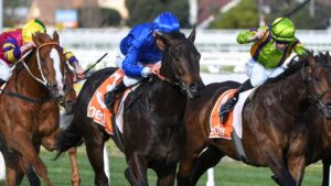 Damien Oliver powers Ingratiating to victory in the Vain Stakes. Picture: Getty Images