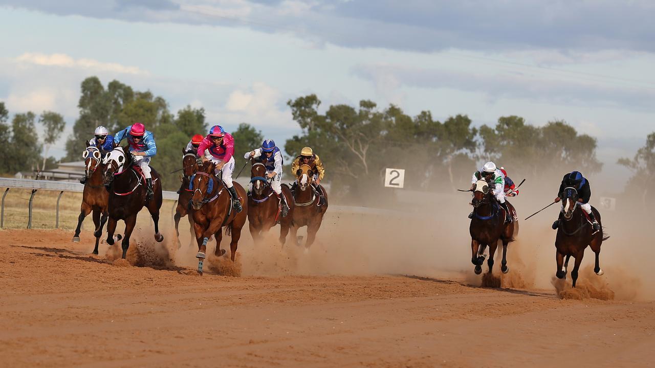 Horses race at Barcaldine. Picture: Jack Tran.