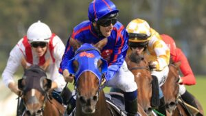 Tim Clark rides Krone to victory in the Coolmore Classic. Picture: Getty Images