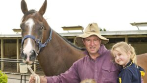 Trainer Tom Dougall is looking forward to a rare trip to Brisbane with his horse Go Wandji. Picture: News Corp Australia