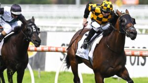 Damian Lane riding Probabeel to victory in the Group 1 Futurity Stakes. Picture: Getty Images