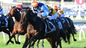 Duais, ridden by Hugh Bowman brilliantly won the Group 1 Queensland Oaks. Picture: Grant Peters–Trackside Photography