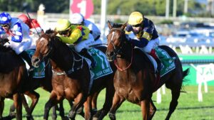Tofane (right) winning the Group 1 Stradbroke Handicap in June. Picture: Grant Peters/Trackside Photography