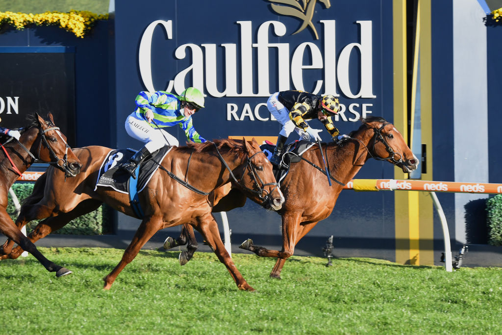Brett Prebble rides Behmoth to victory in the 2021 Memsie Stakes at Caulfield.
