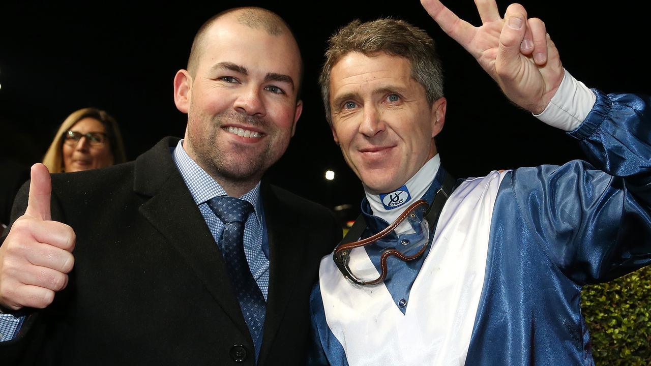 Trainer Lloyd Kennewell and jockey Joe Bowditch will combine again with the promising colt Direct at Cranbourne on Thursday. Picture : AAP.