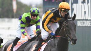 Jockey Jordan Childs aboard Nonconformist winning at Caulfield. Picture: Vince Caligiuri