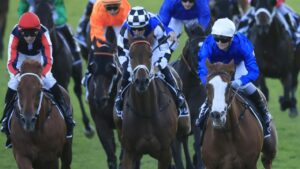Cascadian (white cap) and Dalasan (red sleeve) are nominated for the Epsom Handicap. Photo: Mark Evans/Getty Images