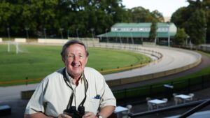 Daily Telegraph journalist Jeff Collerson at Wentworth Park, Sydney who is retiring after 50 years.