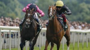 Spanish Mission (pink) surged into Cups calculations after a pulsating finish with Stradivarius in last month's Lonsdale Cup. Picture: Getty Images