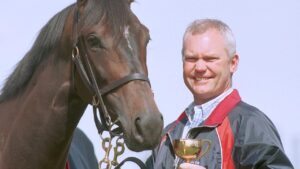 David Hall with Makybe Diva after winning the 2003 Melbourne Cup. Picture: Craig Hughes