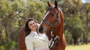Yvonne Sampson with Cellarman. The Fox Sports host has signed up for Supercoach Racing. Picture: Justin Lloyd