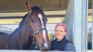 Rob Heathcote's travelling foreperson and racing manager Mel Sharpe with The Everest contender Rothfire. Picture: Supplied