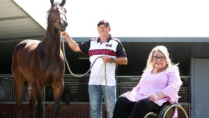 Group 1 sprinter Rothfire with trainer Rob Heathcote and part-owner Louise Yates at Eagle Farm. Picture: Liam Kidston