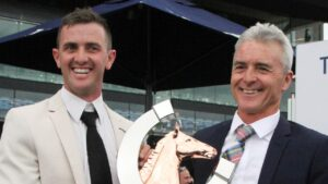 Trainers Robert (right) and Luke Price have a good opinion of lightly-raced filly So I See. Picture: Grant Guy