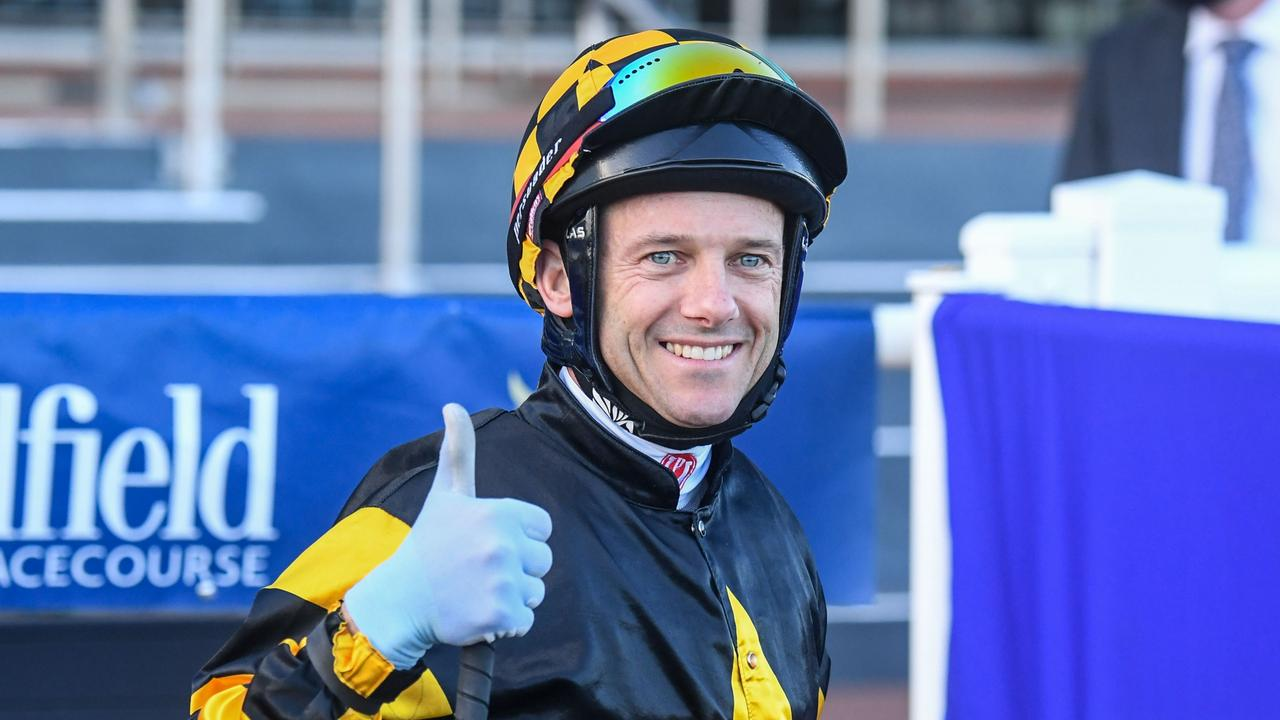 Brett Prebble gives the thumbs up after winning the Memsie Stakes. Picture: Racing Photos via Getty Images
