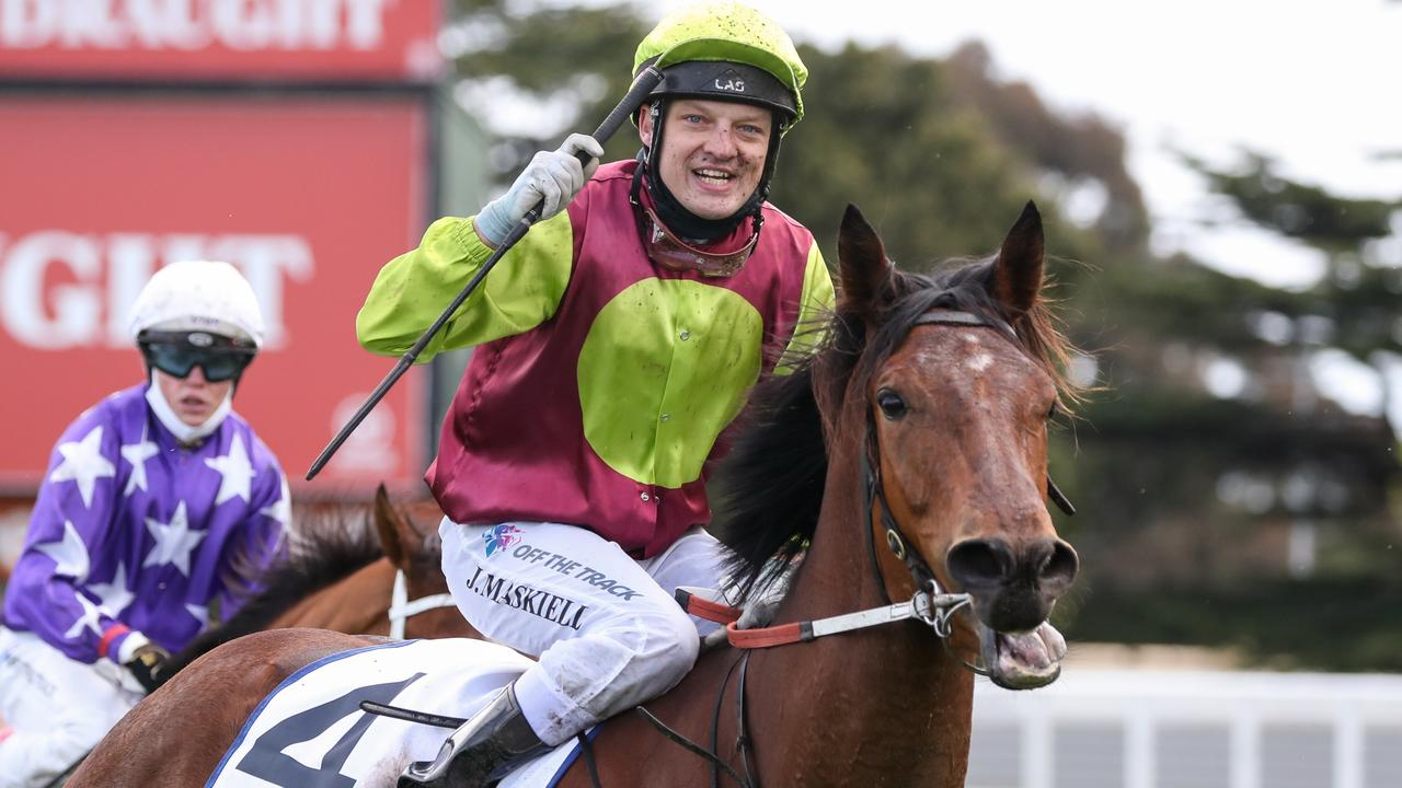 A jubilant Jason Maskiell returns to the mounting yard after winning Saturday's Group 2 Thousand Guineas Prelude at Caulfield. Picture : Racing Photos via Getty Images.
