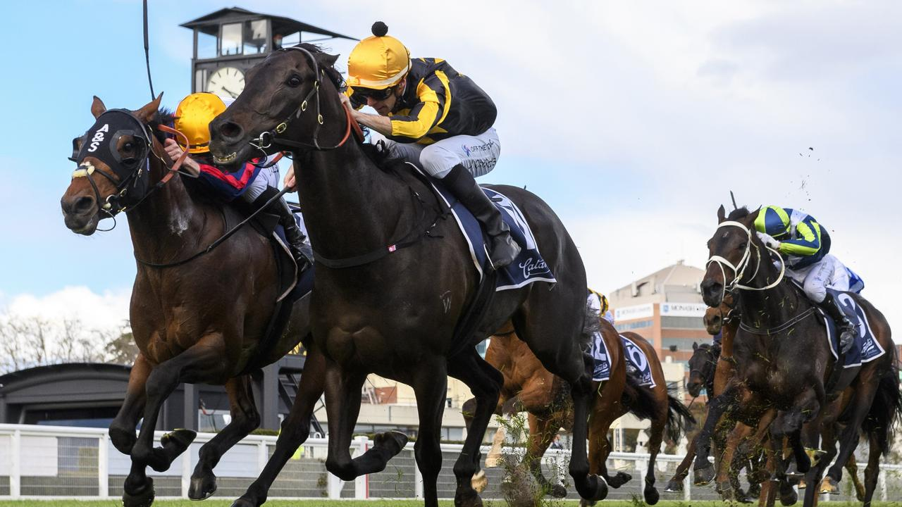 Jordan Childs gets Nonconformist home from John Allen on Delphi in the MRC Foundation Cup. Picture: Vince Caligiuri–Getty Images
