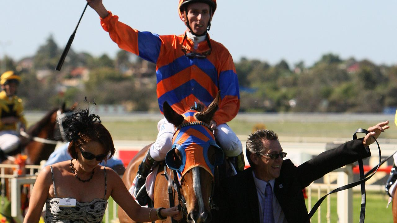 Sniper's Bullet, ridden by Nash Rawiller being led in by trainer Tracey Bartley after winning the 2009 Railway Stakes at Ascot. Perth Racing.