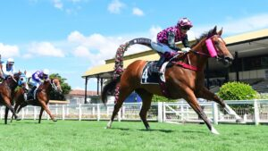 Startantes strides out to victory at Eagle Farm. Picture: Grant Peters—Trackside Photography.