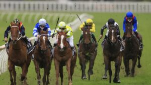 Lost And Running (blue, right) failed to beat a runner home in The Shorts. Photo: Mark Evans/Getty Images
