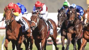 Giannis (red and white silks) heads to the Golden Rose off a 1500m race win in the Dulcify Stakes. Picture: Getty Images