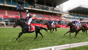 Sir Dragonet wins last year's Cox Plate in front of empty grandstands. Picture : Racing Photos via Getty Images.