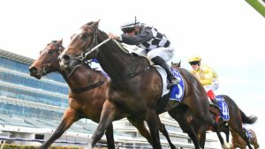 Cavalla ridden by Patrick Moloney wins the Darley Spring Preview at Flemington. Picture: Racing Photos
