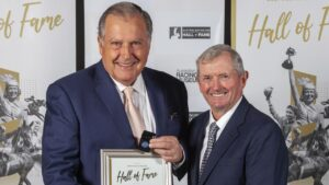 Hall of Famers and close friends, John Messara (left) and John Hawkes, are looking to share their first Group 1 together with Remarque in the Golden Rose. Picture: Atkins Photography