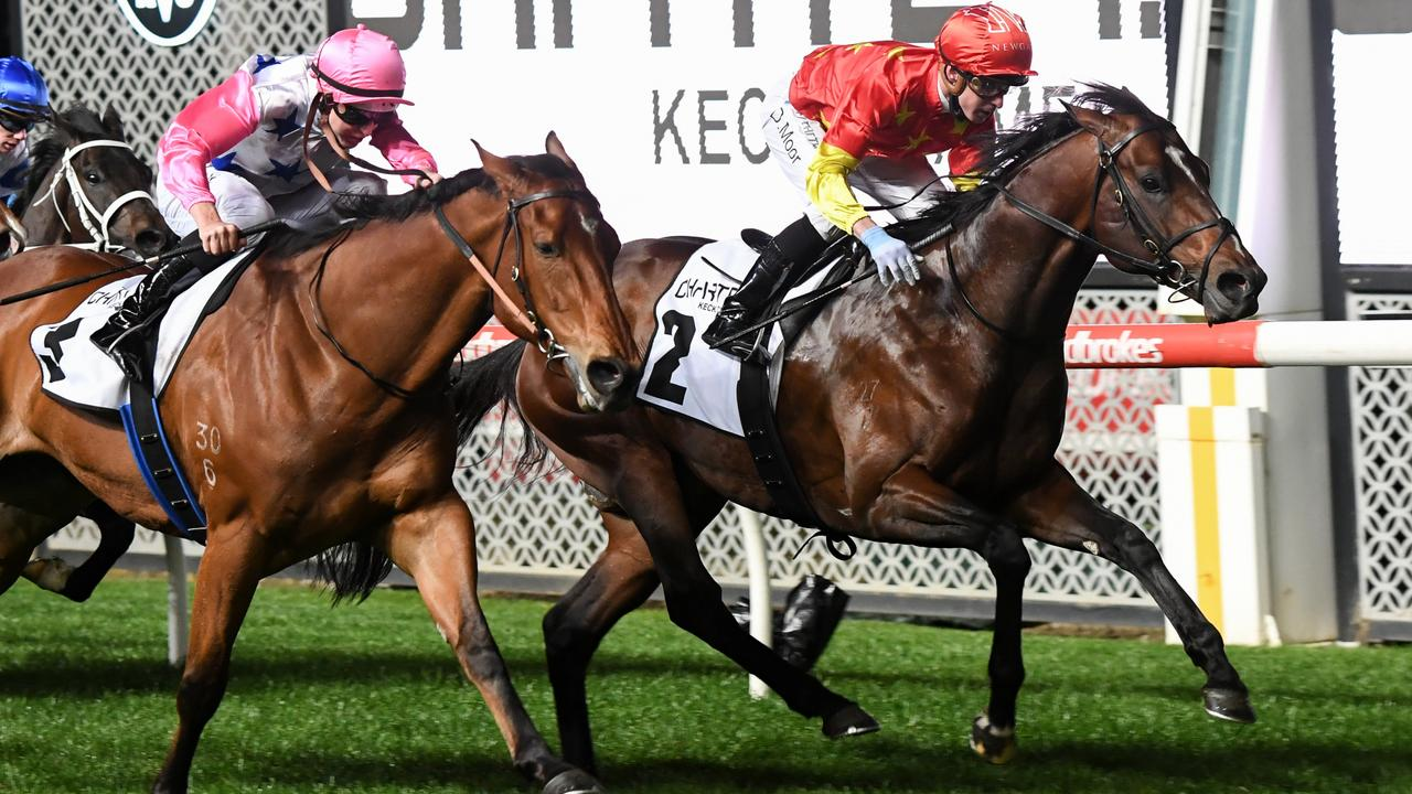 Wild Ruler holds off The Inferno to take out the Group 1 Moir Stakes at Moonee Valley. Picture: Pat Scala–Racing Photos via Getty Images