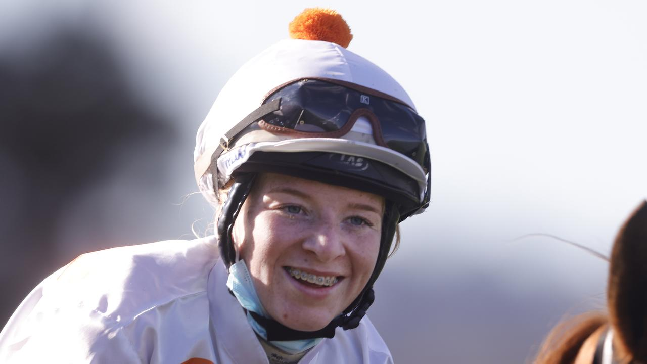 Ellen Hennessy after riding her first city winner aboard Meg at Rosehill back in June. Photo: Mark Evans/Getty Images.
