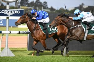 Vangelic proved too quick for her rivals in the Golden Pendant at Rosehill on Saturday. Photo: Steve Hart.