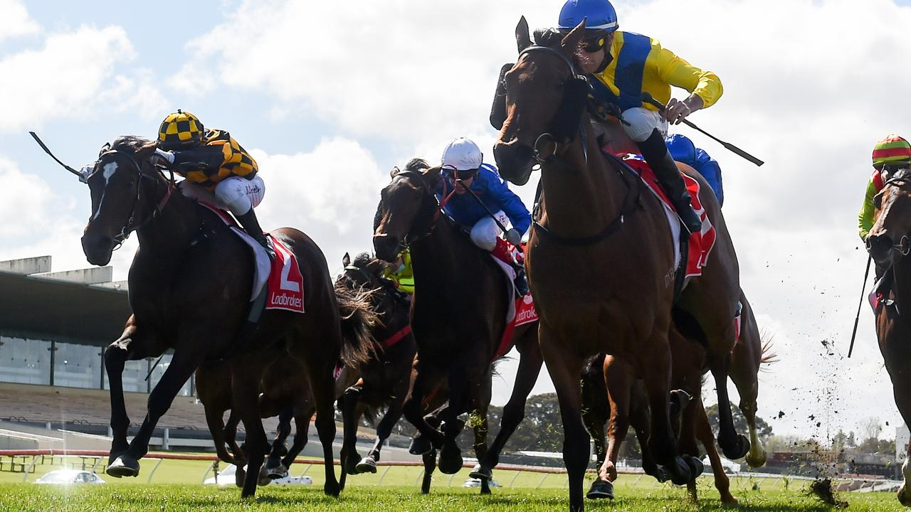 Queen Of Dubai (blue cap) fought on well to defeat Zouzarella (black and yellow silks) in the LIsted Jim Moloney Stakes at Sandown. Picture: Racing Photos via Getty Images.