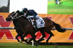 Head Of State (navy) outpoints Profondo to win the Gloaming Stakes at Rosehill on Saturday. Photo: Steve Hart.