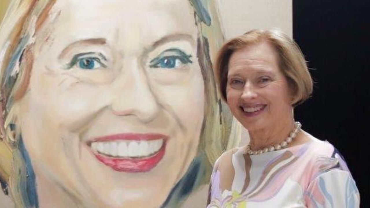 Gai Waterhouse AO in front of her portrait by Anh Do. Picture: Supplied ABC