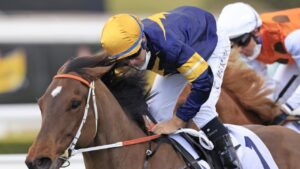 Masked Crusader charged home from last in the Premiere Stakes to enhance his reputation as a leading The Everest contender. Picture: Mark Evans–Getty Images