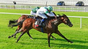 Laws Of Indices winning the Group 2 Railway Stakes. Photo: Healy Racing.