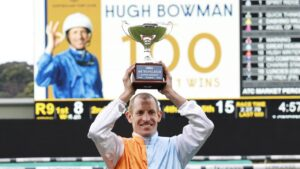 Hugh Bowman after becoming only the fourth Australian jockey to ride 100 Group 1 winners. Picture: Mark Evans–Getty Images