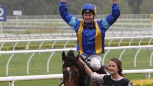 A fresh faced James McDonald celebrates winning the Spring Champion Stakes in 2012 aboard It's A Dundeel. Picture: Richard Dobson.