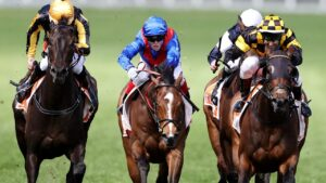 Dominant favourite Zaaki (middle) could only manage third in the Might And Power at Caulfield. Picture: Michael Klein