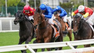 Damien Oliver urges Anamoe to victory in the Caulfield Guineas. Picture: Racing Photos via Getty Images