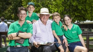 Basil Nolan Sr with his grandchildren Basil, James, William and Lily at the 2020 Magic Millions sale. Picture: Nigel Hallett