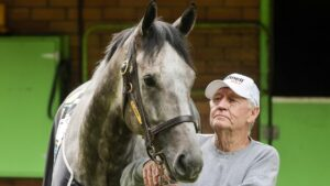 Hall of Fame trainer Les Bridge with 2020 Everest winner Classique Legend are ready to defend their crown. Picture: Getty Images