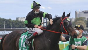 Regan Bayliss and Private Eye after winning the Epsom Handicap at Randwick on October 02. Photo: Mark Evans/Getty Images.
