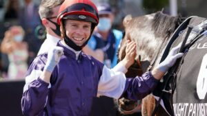 Jye McNeil will be out to add a Caulfield Cup trophy to his win in last year's Melbourne Cup on Twilight Payment. Picture: Racing Photos via Getty Images