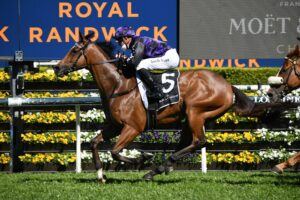 Big Parade takes out the Sydney Stakes. Photo: Steve Hart.