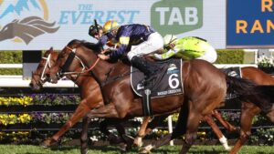 Nature Strip holds off a fast-finishing Masked Crusader in The Everest at Randwick. Picture: AFP